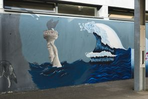 Bedrohung der Küstenregionen am Beispiel New York durch Abschmelzen der Polkappen und Zitat der `grossen Welle vor Kanagawa (Hokusai), bedrohliche Fluten und ambivalenter Charakter des Wassers